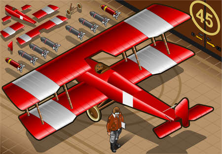 bomber plane: Detailed illustration of a Isometric Red Biplane Landed in Rear View