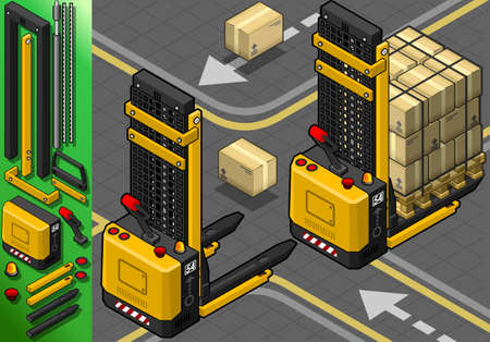 dais: Detailed illustration of a Isometric Forklift in Two Positions in Rear View Illustration