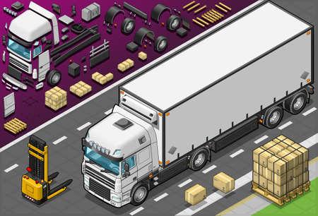 convoy: Illustrazione dettagliata di un camion frigo isometrica nella vista frontale Vettoriali