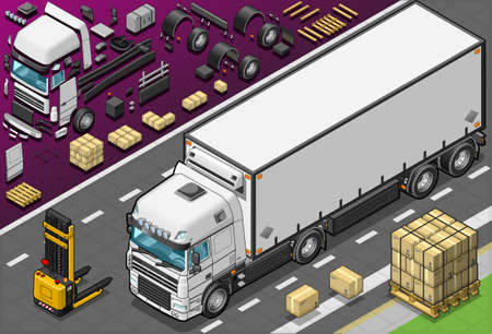 teherautók: Részletes illusztráció egy izometrikus Frigo teherautó elé kilátás