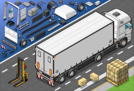 Gedetailleerde illustratie van een isometrisch frigo vrachtwagen in achteraanzicht