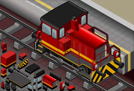 Detailed illustration of a Isometric red train in front viewThis illustration is saved in EPS10 with color space in RGB.Where possible, the objects have been grouped to make it easily editable or hidden.This illustration contains a transparency blends. Vector