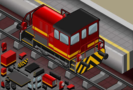 Detailed illustration of a Isometric red train in rear viewThis illustration is saved in EPS10 with color space in RGB.Where possible, the objects have been grouped to make it easily editable or hidden.This illustration contains a transparency blends. Vector