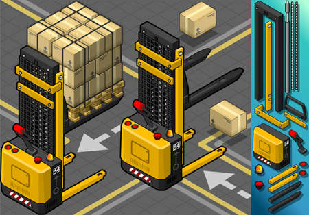 dais: Detailed illustration of a Isometric Forklift in Two Positions in Rear ViewThis illustration is saved in EPS10 with color space in RGB.Where possible, the objects have been grouped to make it easily editable or hidden.This image has transparent forms are