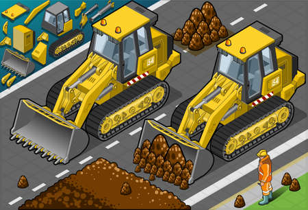earth mover: Detailed illustration of a isometric yellow bulldozer in front view