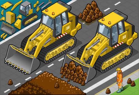 hydraulic platform: Ilustraci�n detallada de una excavadora amarilla isom�trica en vista frontal Vectores