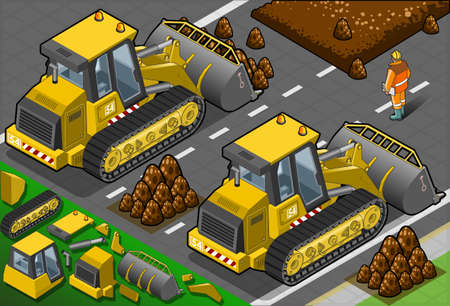 earth mover: Detailed illustration of a isometric yellow bulldozer in rear view