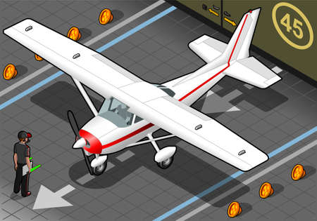 detailed view: Detailed illustration of a isometric white plane in front view Illustration