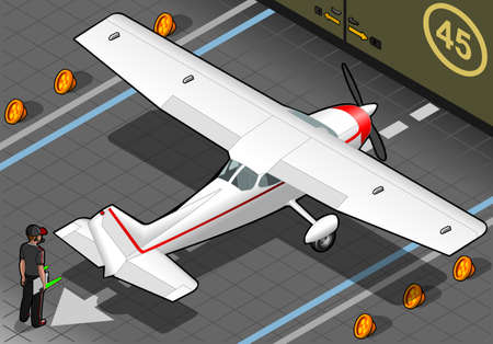 cessna: Detailed illustration of a isometric white plane in rear view Illustration