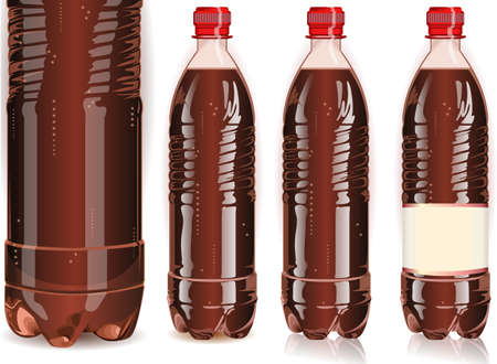 softdrink: Detailed illustration of a Four plastic bottles of cola with labels