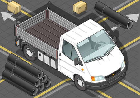 wipers: detailed illustration of a isometric white van in front view Illustration