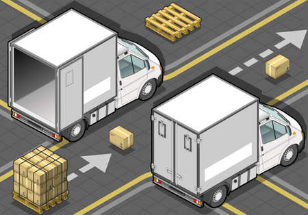 pack ice: detailed illustration of a isometric white refrigerator van in rear view Illustration