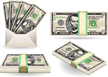 five dollars: Detailed illustration of a full set of five dollar banknotes Illustration