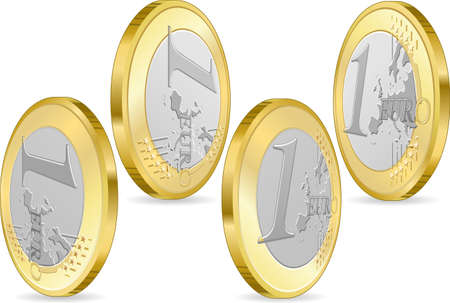 euro coin: Detailed animation of a full set of one euro coins