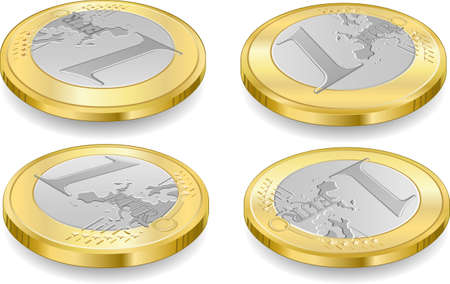 Detailed animation of a full set of one euro coins Stock Vector - 18977982