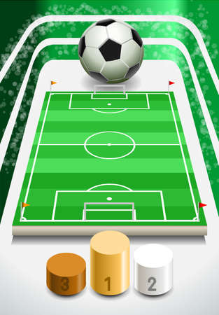 ballsport: Soccer Field with Soccer Ball and Podium