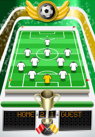 scorebord: Gedetailleerde illustratie van een voetbalveld met voetbal en scorebord