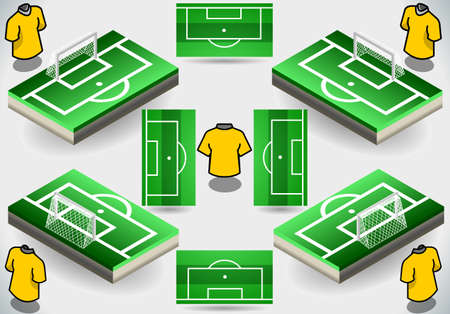 ballsport: Detailed illustration of a Set of Soccer Penalty Area and Icons