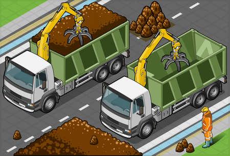hydraulic platform: Camiones Contenedores isom�tricos con el brazo en vista frontal