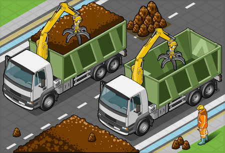 earth mover: Isometric Containers Trucks with Arm in front view