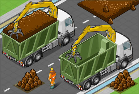 earth mover: Isometric Containers Trucks with Arm  in rear view Illustration