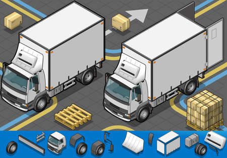 package sending: Detailed illustration of a isometric container refrigerator truck in front view