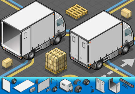 Detailed illustration of a isometric container refrigerator truck in rear view Illustration