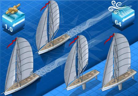 Detailed illustration of a isometric sailships in navigation and regatta Illustration
