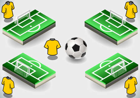 Detailed illustration of a Set of Soccer Penalty Area and Icons
