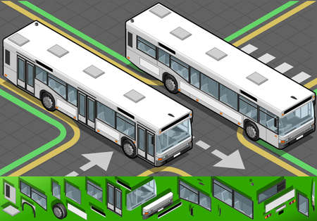 charter: Detailed illustration of a Isometric Bus in front view and closed doors Illustration