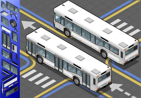 Detailed illustration of a Isometric Bus in Rear View Vector