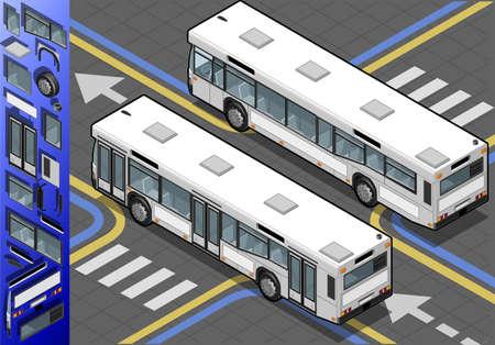 oorkonde: Gedetailleerde weergave van een isometrisch bus in Rear View
