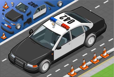 politieauto: isometrische politie auto in vooraanzicht