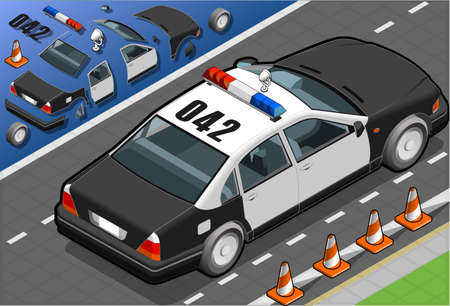 isometric police car in rear view Stock Vector - 19379606