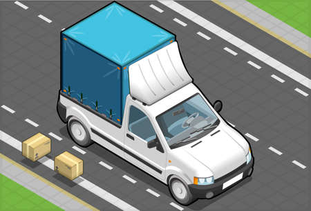detailed illustration of a Isometric White Pickup Van with Tarpaulin in front view Vector