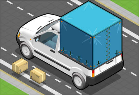 tarpaulin: detailed illustration of a Isometric White Pickup Van with Tarpaulin in rear view Illustration
