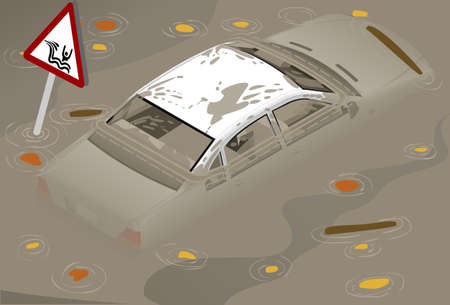wade: Isometric White Car Flooded in rear view Illustration