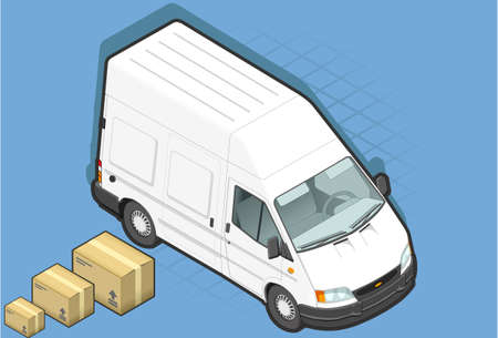 detailed illustration of a isometric white van in front view Vector