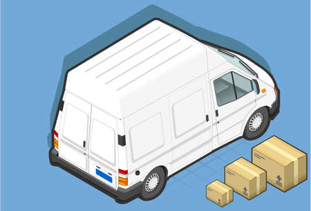 detailed illustration of a isometric white van in rear view Vector
