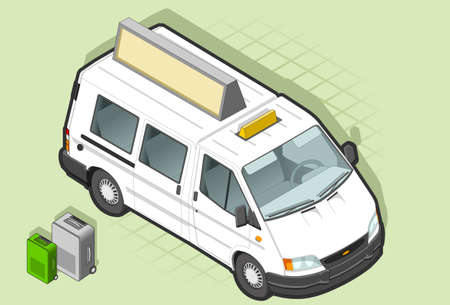 Isometric White Van Taxi in front view Vector