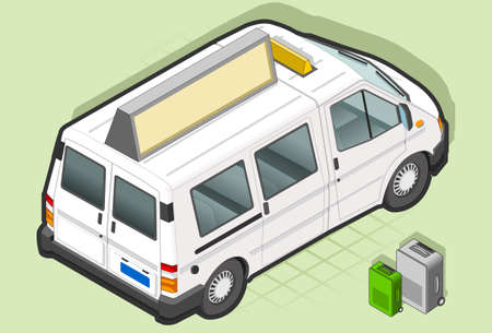 Isometric White Van Taxi in rear view Vector