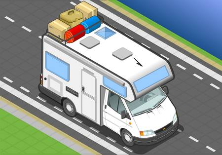 motorhome: detailed illustration of a isometric camper in front view Illustration