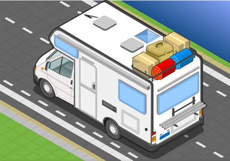 detailed illustration of a isometric camper in rear view