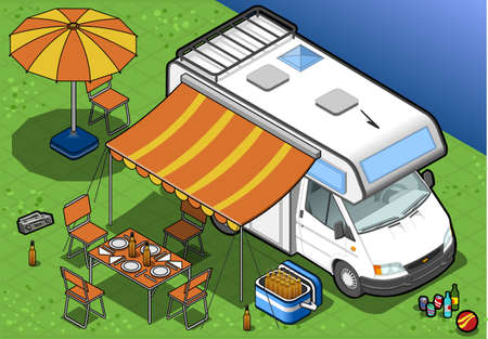 detailed illustration of a isometric camper in front view Vector
