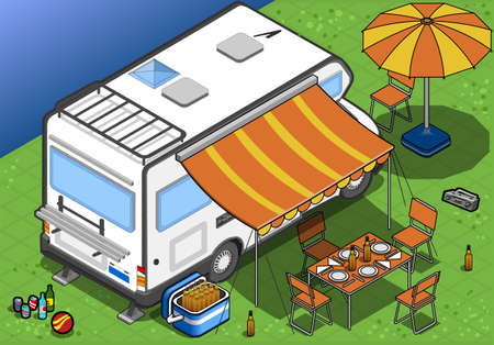detailed illustration of a isometric camper in rear view Vector
