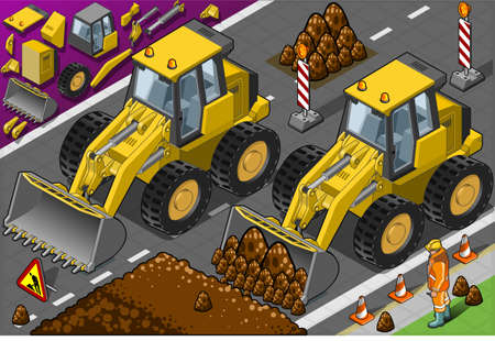 Detailed illustration of a Isometric Yellow Bulldozerin front view Illustration