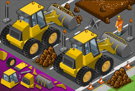 Detailed illustration of a isometric yellow bulldozer in rear view Stock Vector - 19420181