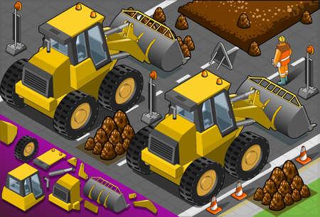 hydraulic platform: Ilustraci?n detallada de una excavadora amarilla isom?trica en la vista trasera