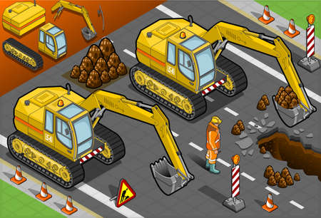 Detailed illustration of a isometric yellow excavator in front view