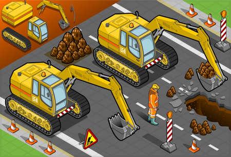 hydraulic platform: Ilustraci�n detallada de una excavadora amarilla isom�trica en la vista frontal Vectores